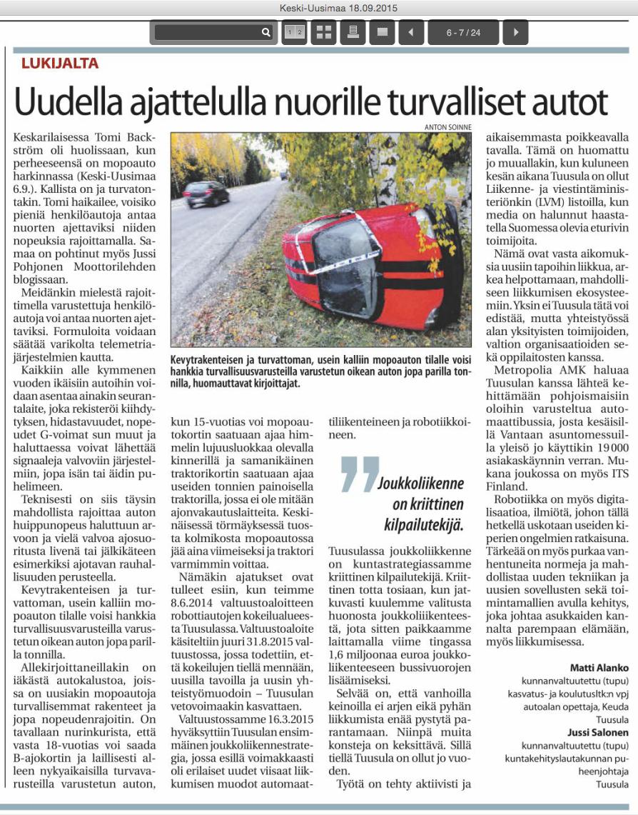 Keski-Uusimaa 2015-09-18 Lukijalta Matti Alanko ja Jussi Salonen: Uudella ajattelulla nuorille turvalliset autot