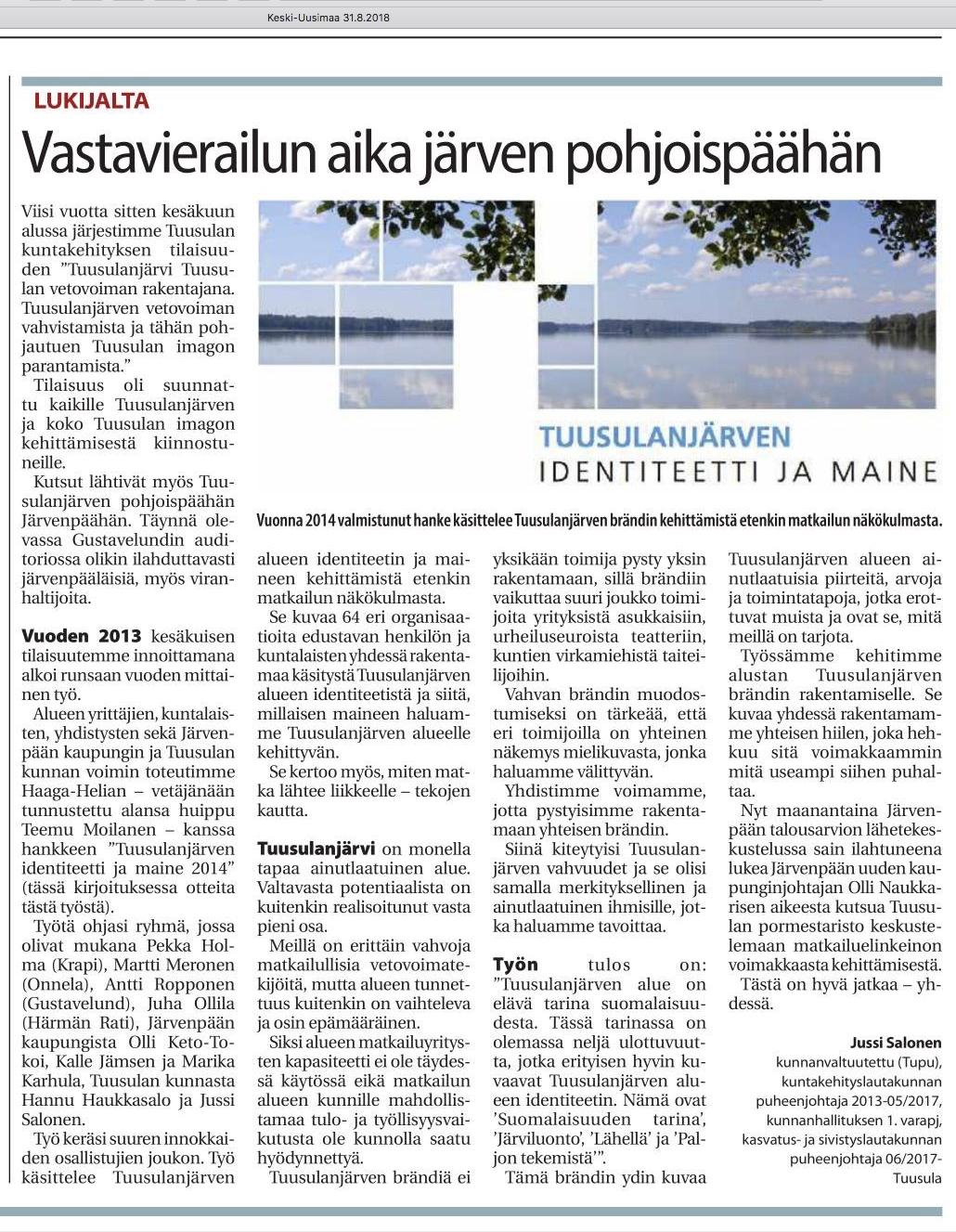 Keski-Uusimaa 2018-08-31 Lukijalta Jussi Salonen: Vastavierailun aika järven pohjoispäähän
