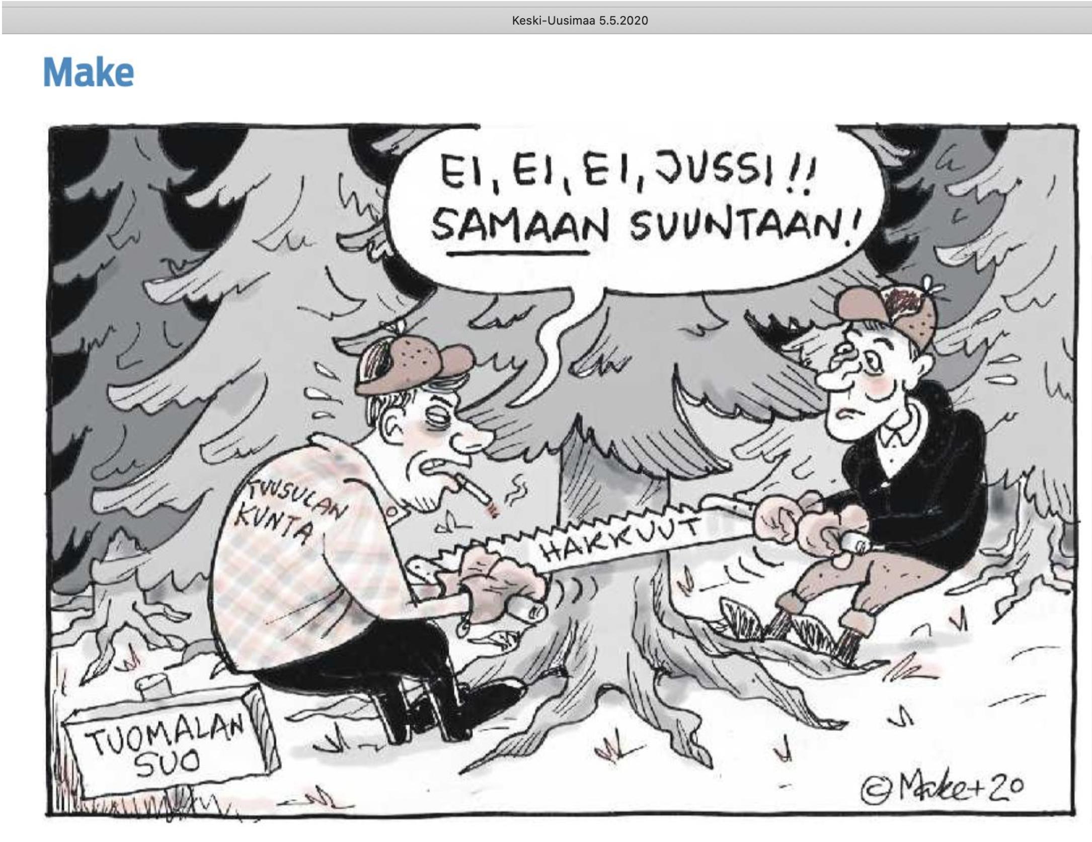 Keski-Uusimaa 2020-05-05 Make: Ei, ei, ei, Jussi! Samaan suuntaan!   Tuomalan suo hakkuut